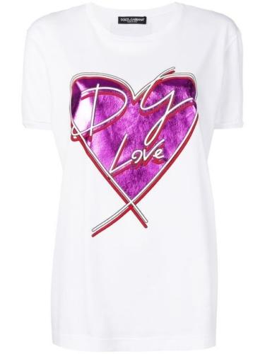 metallic heart print T-shirt