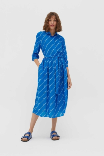 Royal-Blue Ciao Crepe-Georgette Shirt Dress
